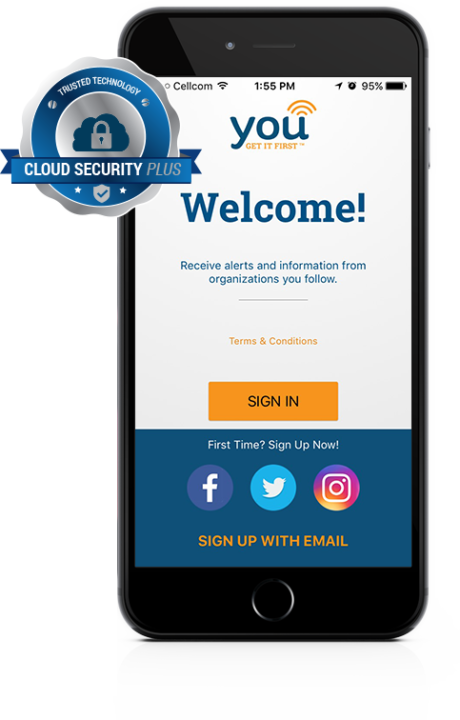 YOU Mobile App Log In With Cloud Security